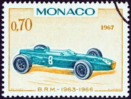 postes: MONACO - CIRCA 1967  A stamp printed in Monaco from the  25th Grand Prix, Monaco  issue shows B R M  Grand Prix racing car of 1963-66, winner of Monaco Grand Prix, circa 1967