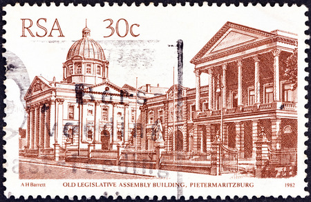 suid: SOUTH AFRICA - CIRCA 1982  A stamp printed in South Africa from the  South African Architecture  issue shows Old Legislative Assembly Building, Pietermaritzburg, circa 1982   Editorial