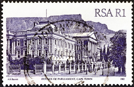 suid: SOUTH AFRICA - CIRCA 1982  A stamp printed in South Africa from the  South African Architecture  issue shows Houses of Parliament, Cape Town, circa 1982