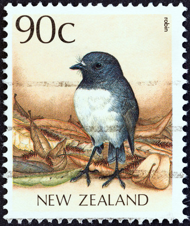 stempel: NEW ZEALAND - CIRCA 1988  A stamp printed in New Zealand from the  Native Birds  issue shows a New Zealand robin  Petroica australis , circa 1988   Editorial