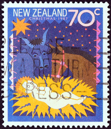 ass christmas: NEW ZEALAND - CIRCA 1987  A stamp printed in New Zealand from the  Christmas   issue shows Away in a Manger, circa 1987