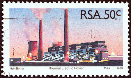 suid: SOUTH AFRICA - CIRCA 1989  A stamp printed in South Africa from the  Energy Sources   issue shows Thermal Electric power plant, circa 1989   Editorial