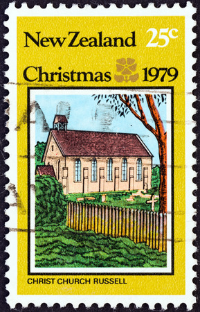 NEW ZEALAND - CIRCA 1979  A stamp printed in New Zealand from the  Christmas   issue shows Christ Church, Russell, circa 1979