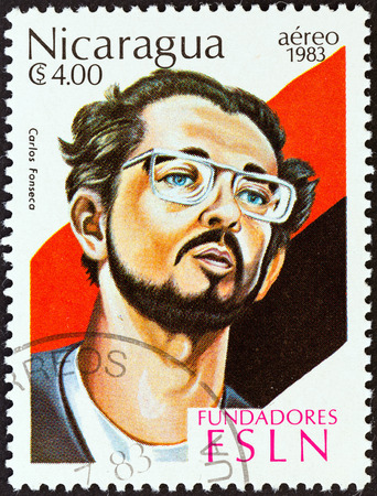 founders: NICARAGUA - CIRCA 1983  A stamp printed in Nicaragua from the  Founders of Sandinista National Liberation Front   issue shows Carlos Fonseca, circa 1983
