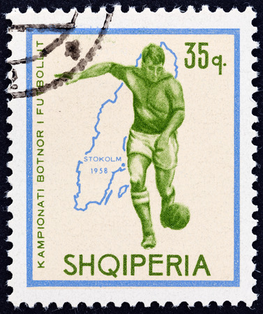 ALBANIA - CIRCA 1966  A stamp printed in Albania from the  Football World Cup - England   issue shows soccer player and map of Sweden  1958 , circa 1966