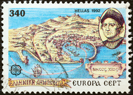 colonizer: GREECE - CIRCA 1992  A stamp printed in Greece from the  Europa  issue shows map of 15th century Chios and Christopher Columbus, circa 1992