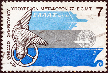 GREECE - CIRCA 1977  A stamp printed in Greece issued for the 45th European Conference of Ministers of Transport shows Emblem and types of transportation, circa 1977