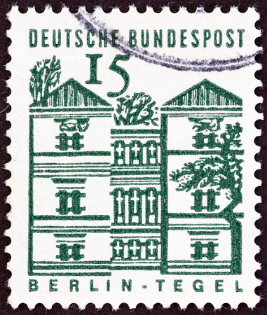 bundes: GERMANY - CIRCA 1964  A stamp printed in Germany from the  German Building Structures of the 12th Century   issue shows Tegel Castle, Berlin, circa 1964   Editorial