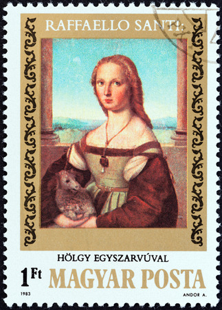 magyar: HUNGARY - CIRCA 1983  A stamp printed in Hungary from the  500th birth anniversary of Raphael   issue shows Lady with Unicorn, circa 1983