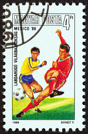 magyar: HUNGARY - CIRCA 1986  A stamp printed in Hungary from the  World Cup Football Championship, Mexico   issue shows shooting the ball, circa 1986   Editorial