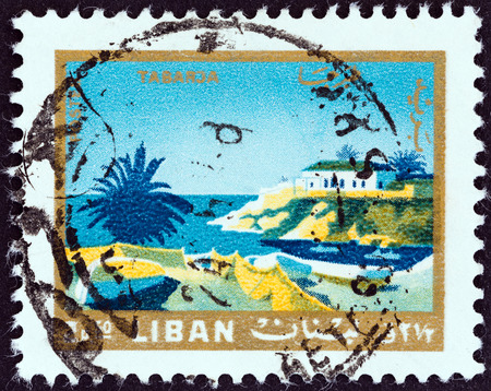 libani: LEBANON - CIRCA 1966  A stamp printed in Lebanon from the  Tourism   issue shows Tabarja, circa 1966   Editorial