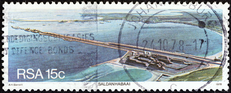 suid: SOUTH AFRICA - CIRCA 1978  A stamp printed in South Africa from the  Harbours   issue shows Saldanha port, circa 1978