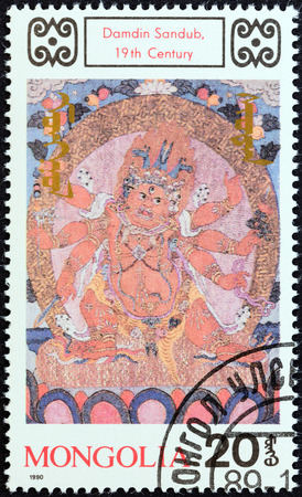 stempel: MONGOLIA - CIRCA 1989  A stamp printed in Mongolia from the  Mural Paintings  Buddhas   issue shows Damdin Sandub, 19th century, circa 1989