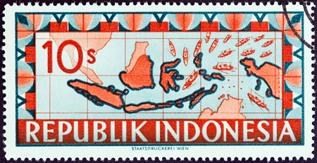 stempel: INDONESIA - CIRCA 1949  A stamp printed in Indonesia shows map of Indonesia with ships representing blockade runners streaming toward the Republic of Indonesia, circa 1949