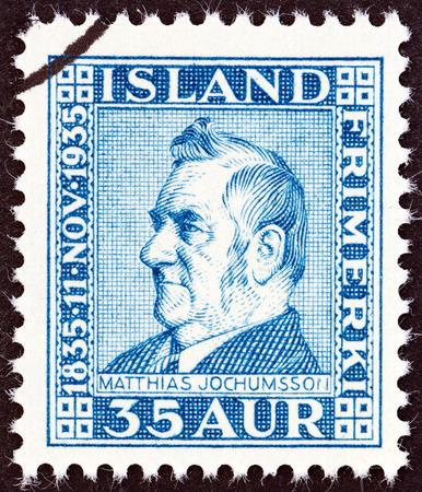 stempel: ICELAND - CIRCA 1935  A stamp printed in Iceland issued for the 100th anniversary of the birth of Matthias Jochumsson shows poet Matthias Jochumsson, circa 1935