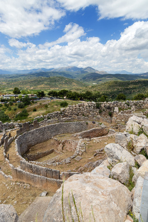 Grave circle A in Mycenae, Peloponnese, Greece photo