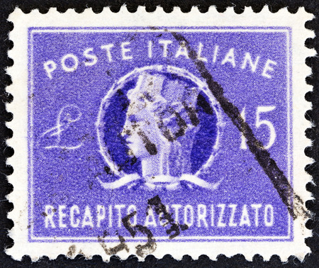 turreted: ITALY - CIRCA 1949  A stamp printed in Italy shows Italia Turrita, circa 1949   Editorial