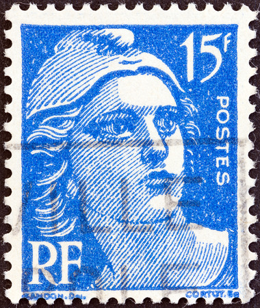 phrygian: FRANCE - CIRCA 1945  A stamp printed in France shows Marianne, circa 1945   Editorial