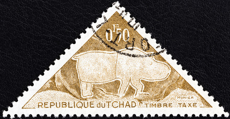 chadian: CHAD - CIRCA 1962  A stamp printed in Chad from the  Prehistoric petroglyphs  issue shows Rhinoceros, circa 1962