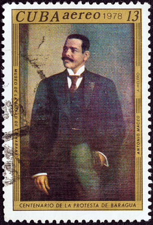 estampilla: CUBA - CIRCA 1978  A stamp printed in Cuba issued for the Baragua protest centenary shows Antonio Maceo by A  Melero, circa 1978
