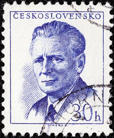 sello: CZECHOSLOVAKIA - CIRCA 1958  A stamp printed in Czechoslovakia shows president Antonin Novotny, circa 1958