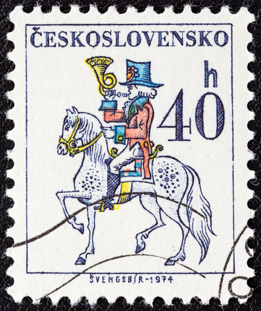 posthorn: CZECHOSLOVAKIA - CIRCA 1974  A stamp printed in Czechoslovakia from the  Czechoslovak Postal Services  issue shows Postilion, circa 1974