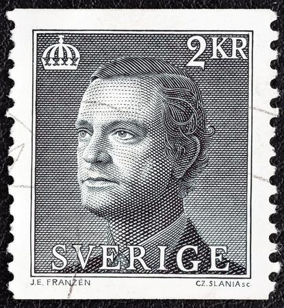 king carl xvi gustaf: SWEDEN - CIRCA 1985  A stamp printed in Sweden shows King Carl XVI Gustaf, circa 1985   Editorial