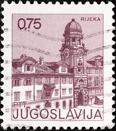 sello: YUGOSLAVIA - CIRCA 1971  A stamp printed in Yugoslavia from the  Tourism  issue shows Rijeka, Croatia, circa 1971