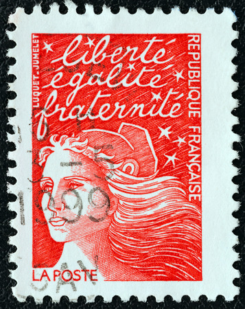 marianne: FRANCE - CIRCA 2001  A stamp printed in France shows Marianne type Luquet, circa 2001