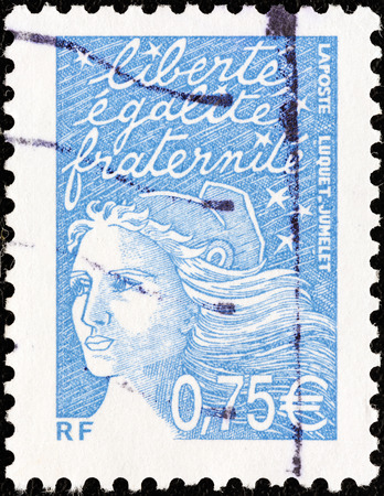 marianne: FRANCE - CIRCA 2002  A stamp printed in France shows Marianne type Luquet, circa 2002