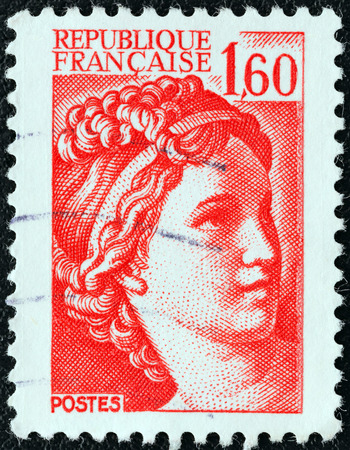 phrygian: FRANCE - CIRCA 1981  A stamp printed in France shows Sabine from the  the kidnapping of the Sabines  painting by Jacques-Louis David, circa 1981