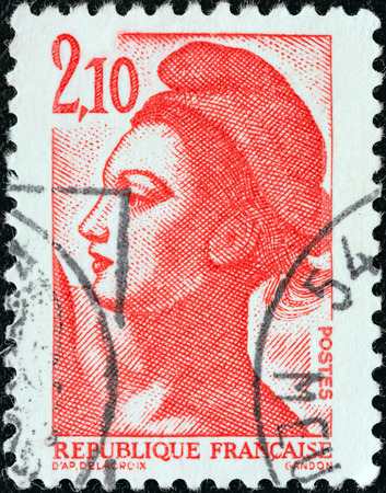 marianne: FRANCE - CIRCA 1982  A stamp printed in France shows Liberte of Delacroix, circa 1982