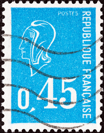 marianne: FRANCE - CIRCA 1971  A stamp printed in France shows Marianne type Bequet, circa 1971