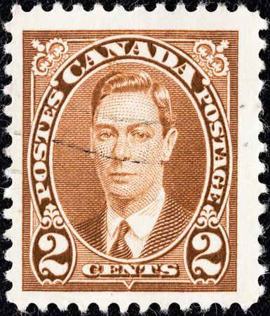 CANADA - CIRCA 1937  A stamp printed in Canada shows King George VI, circa 1937   Editorial