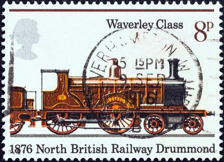 waverley: UNITED KINGDOM - CIRCA 1975  A stamp printed in United Kingdom from the  150th anniversary of Public Railways  issue shows Abbotsford, Waverley Class 1876, circa 1975