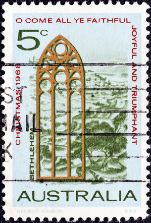 AUSTRALIA - CIRCA 1968  A stamp printed in Australia from the  Christmas  issue shows Church Window and View of Bethlehem, circa 1968