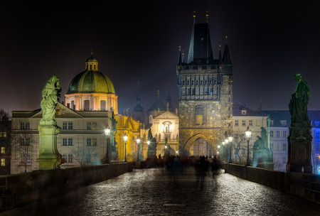 Charles bridge and Tower at night, Prague, Czech Republic photo