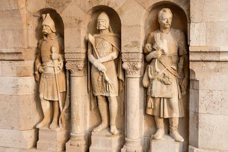 halaszbastya: Knight sculptures in Fisherman's Bastion, Budapest, Hungary