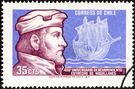 CHILE - CIRCA 1971  A stamp printed in Chile issued for the 450th anniversary of discovery of Magellan Straits shows Magellan and Caravel, circa 1971