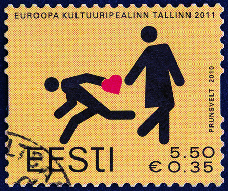ESTONIA - CIRCA 2010  A stamp printed in Estonia from the  Talinn - European Capital of Culture   issue shows Lost in Tallinn, circa 2010