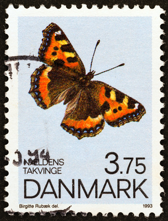 estampilla: DENMARK - CIRCA 1993  A stamp printed in Denmark from the  Butterflies   issue shows  Small Tortoiseshell, circa 1993