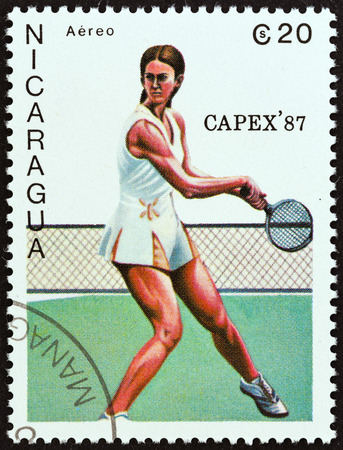 NICARAGUA - CIRCA 1987  A stamp printed in Nicaragua from the  Capex 87  International Stamp Exhibition, Toronto   issue shows tennis player, circa 1987