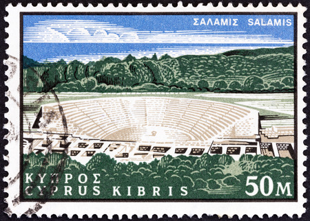 kypros: CYPRUS - CIRCA 1964  A stamp printed in Cyprus from the  400th birth anniversary of Shakespeare  issue shows theatre, Salamis, circa 1964