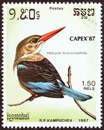 estampilla: KAMPUCHEA - CIRCA 1987  A stamp printed in Kampuchea from the  Capex 87 International Stamp Exhibition, Toronto  Birds   issue shows Grey-headed kingfisher  Halcyon leucocephala , circa 1987   Editorial