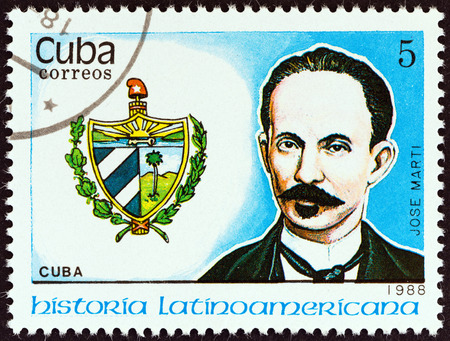 jose: CUBA - CIRCA 1988  A stamp printed in Cuba from the  Latin American History  3rd series   issue shows Coat of Arms and Jose Marti  Cuba , circa 1988