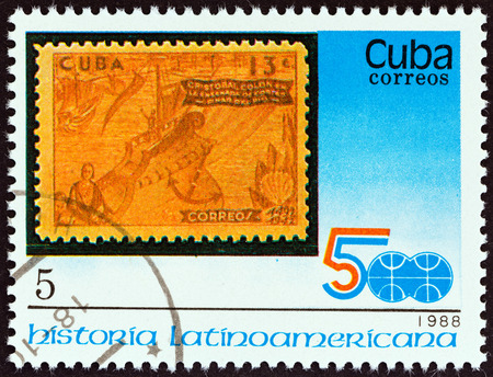 CUBA - CIRCA 1988  A stamp printed in Cuba from the  Latin American History  3rd series   issue shows 1944 13c  Columbus at Pinar del Rio stamp, circa 1988