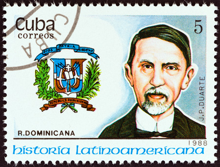 pablo: CUBA - CIRCA 1988  A stamp printed in Cuba from the  Latin American History  3rd series   issue shows Coat of Arms and Juan Pablo Duarte  Dominican Republic , circa 1988