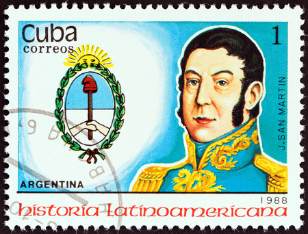 jose de san martin: CUBA - CIRCA 1988  A stamp printed in Cuba from the  Latin American History  3rd series   issue shows Coat of Arms and Jose de San Martin  Argentina , circa 1988   Editorial