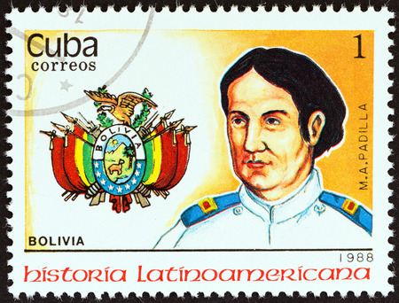 estampilla: CUBA - CIRCA 1988  A stamp printed in Cuba from the  Latin American History  3rd series   issue shows Coat of Arms and Manuel Ascencio Padilla  Bolivia , circa 1988