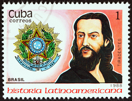 silva: CUBA - CIRCA 1988  A stamp printed in Cuba from the  Latin American History  3rd series   issue shows Coat of Arms and A  de Silva Xavier   Tiradentes    Brazil , circa 1988   Editorial
